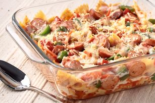 Hot Dog & Veggie Pasta Bake...This would be good to try with the kids....