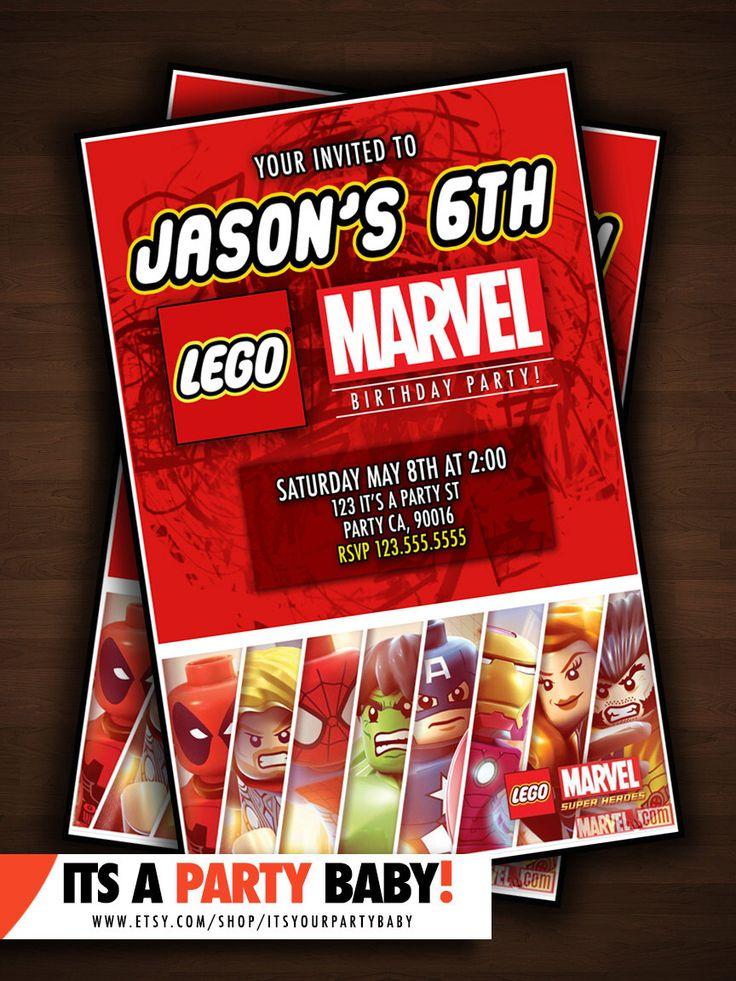 LEGO Marvel Super Heros Birthday Invitation! by ItsyourPartyBABY on Etsy https://www.etsy.com/listing/212097575/lego-marvel-super-heros-birthday