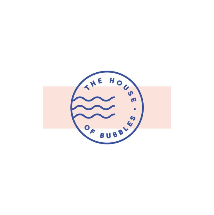 Minimal icon logo with clean typography and graphics inspired from vintage post stamps - The House Of Bubbles branding by The Binding Studio