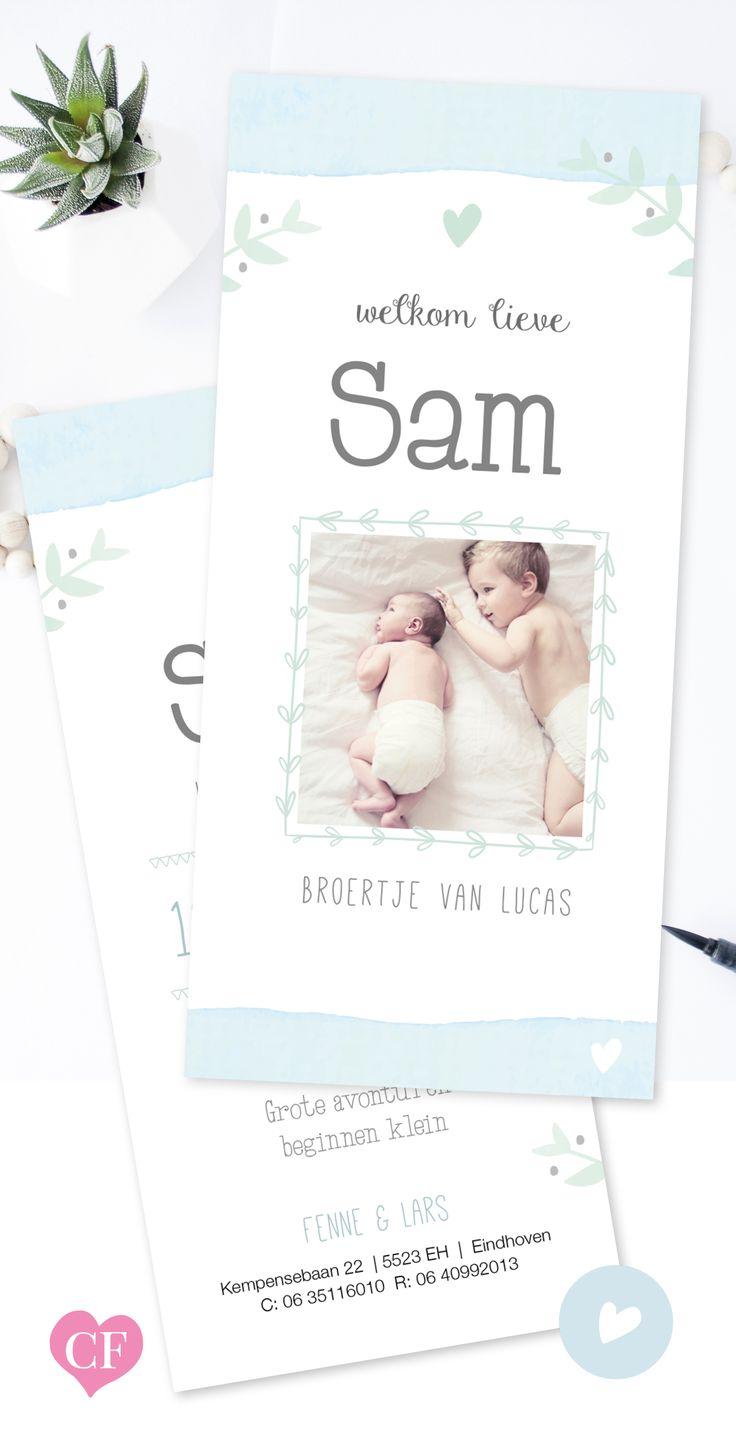 Geboortekaartje jongen met foto | watercolor ontwerp | aquarel | blauw hartje