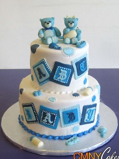 Blue Teddy Bear Baby Shower Cake - CMNY Cakes
