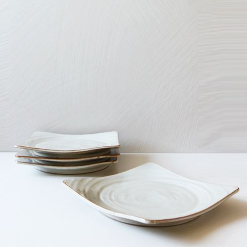 Casual line Oatmeal Round Square Plate 23, set of 4 / $98.00
