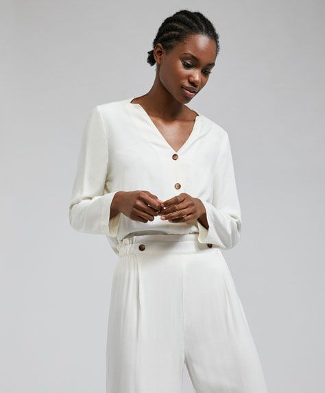 Plain ecru shirt -  | Oysho Ukraine
