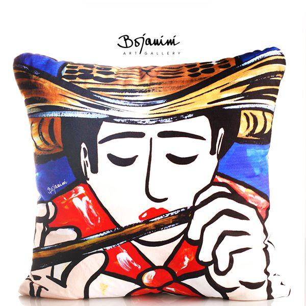 -Cojín pintado a mano- Lleva todo el color y la alegría de la costa caribe a tu casa con los hermosos objetos pintados a mano de Bojanini. http://www.elretirobogota.com/esp/?dt_portfolio=bojanini-art-gallery