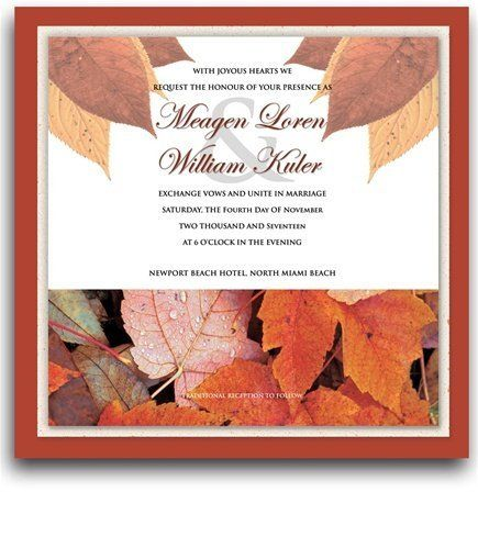 225 Square Wedding Invitations - Autumn Cloud by WeddingPaperMasters.com. $573.75. Now you can have it all! We have created, at incredible prices & outstanding quality, more than 300 gorgeous collections consisting of over 6000 beautiful pieces that are perfectly coordinated together to capture your vision without compromise. No more mixing and matching or having to compromise your look. We can provide you with one piece or an entire collection in a one stop shopp...