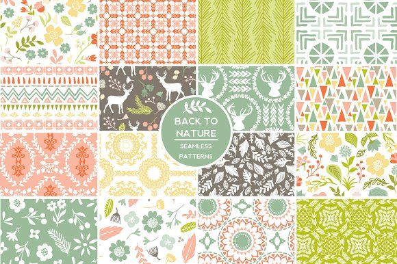 Back to Nature Patterns by Cocoa Mint on @creativemarket