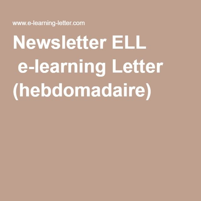 Newsletter ELL  e-learning Letter (hebdomadaire)