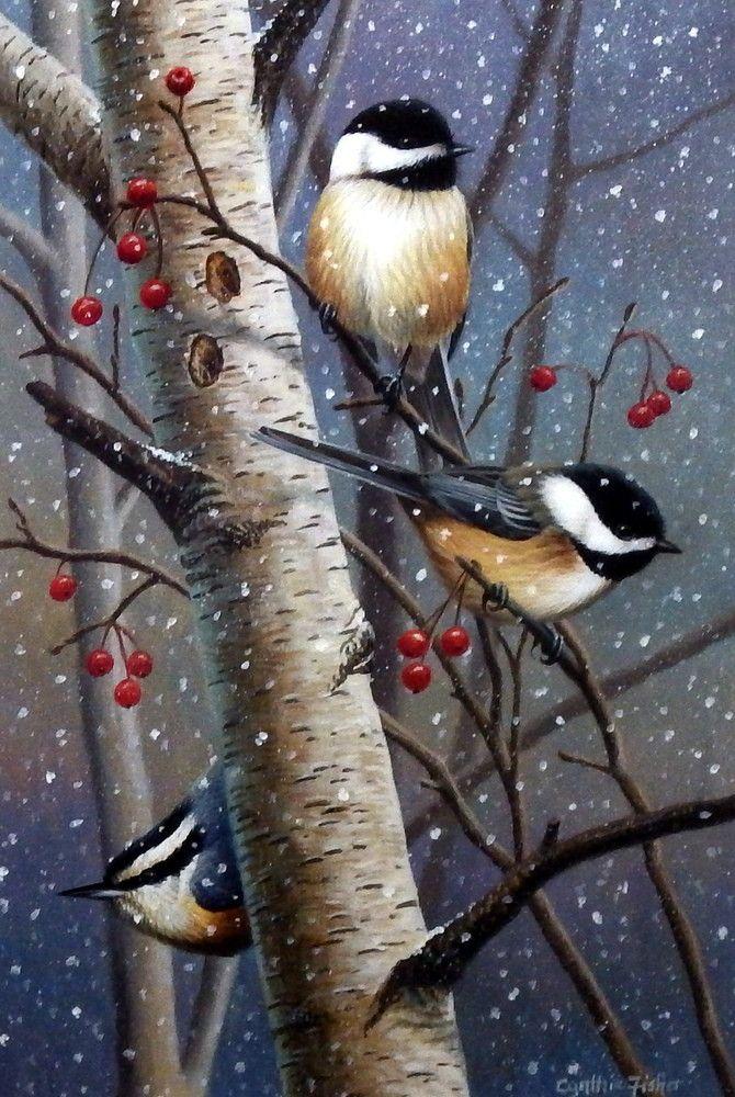 Artist Cynthie Fisher Unframed Chickadee Bird Print Woodland Sprites | WildlifePrints.com