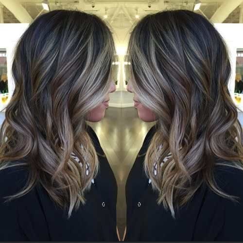 long black hair with brown and blonde balayage would look good if red color added