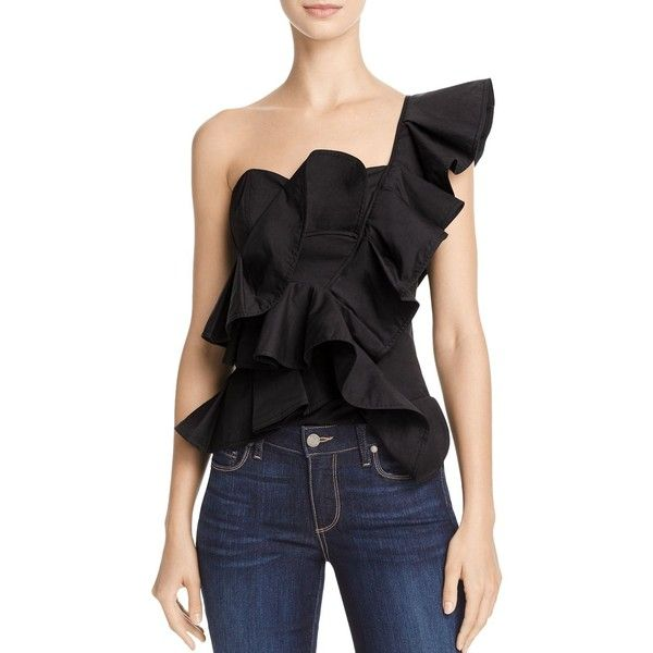 Alpha and Omega One-Shoulder Ruffle Crop Top ($73) ❤ liked on Polyvore featuring tops, black, flounce crop top, crop top, frilly tops, one sleeve top and frill top