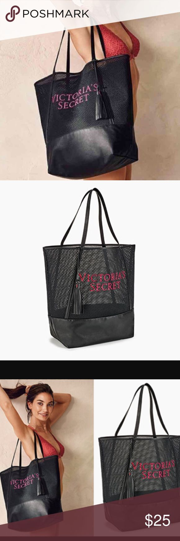 """Victoria's Secret Large Tote Bag Victoria's Secret Large Black Tote Bag with pink graphic stitched on front • New in plastic packaging • 19.5""""x7""""x16 Victoria's Secret Bags"""