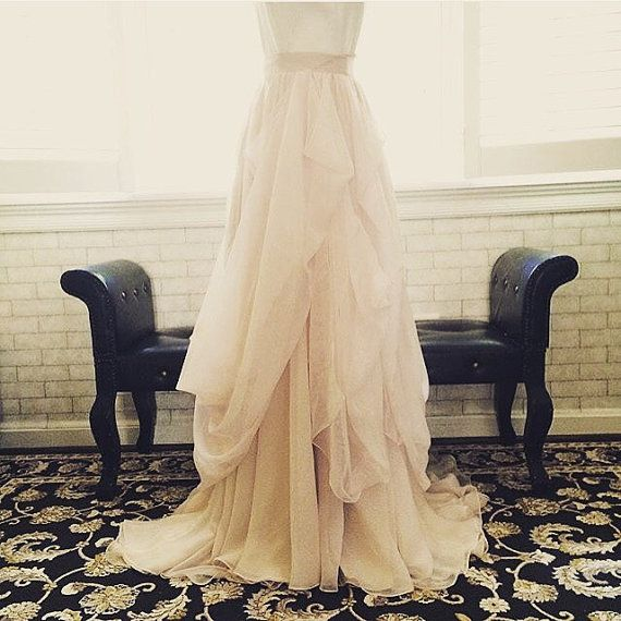 Unique blush and champagne 2 color tone chiffon wedding skirt-the most beautiful wedding skirt for your summer or fall wedding!  See how it flows in