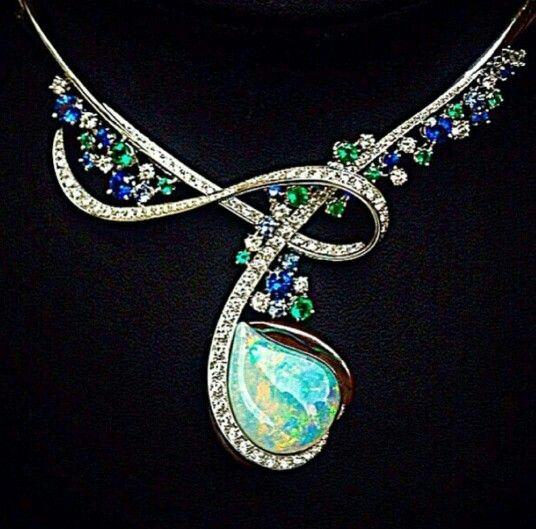 Emerald, Sapphire, Diamond & Fire Opal Pendant Necklace
