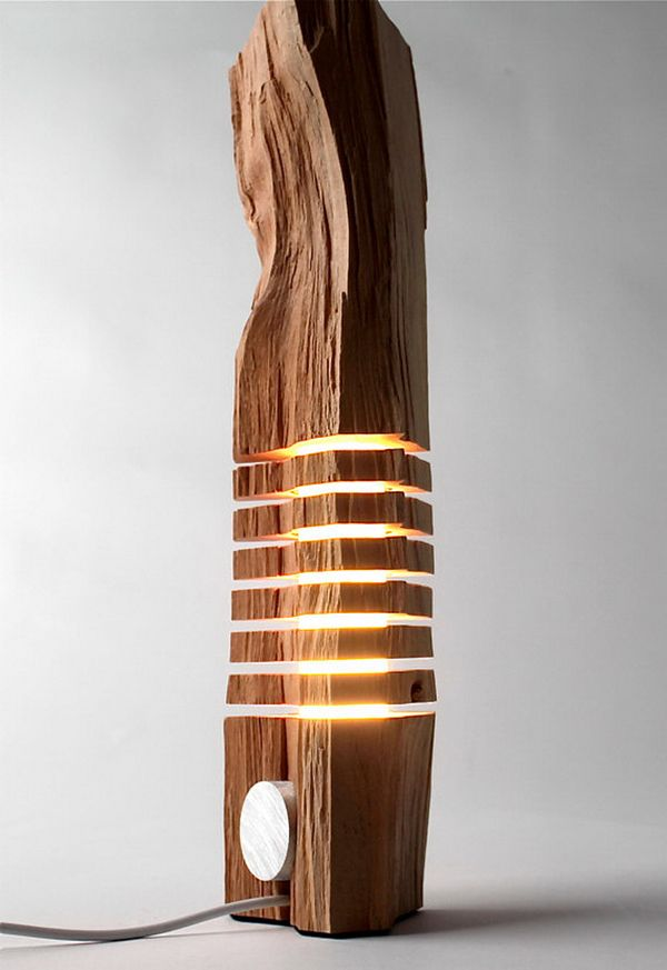 Split Grain: Wooden Lamps and Sculptures Could run flexible light cord through similar hollowed out limb?