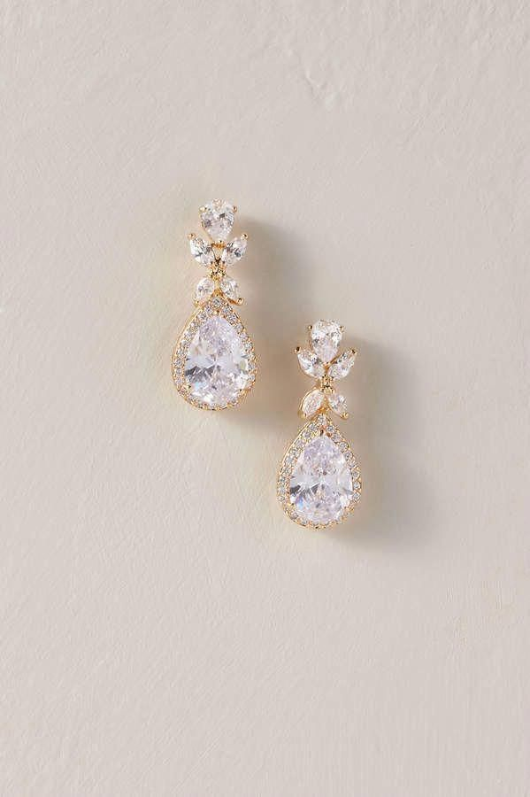 SMALL SILVER TONE TEAR DROP EARRINGS WITH CLEAR DIAMANTE FACETED CRYSTAL