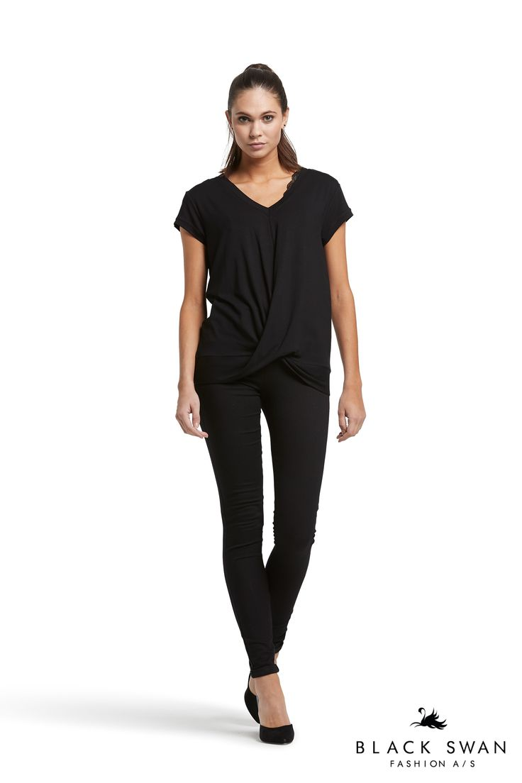 Lovely wrap around effect top and black jeans. Black Swan Fashion SS17