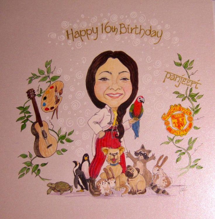 Birthday caricature card