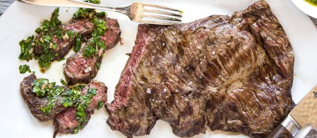 Roasted Steak With Chimichurri Sauce - Butcher Ryan Farr of 4505 Meats in San Francisco shares his foolproof technique for perfect steak along with a bright green, slightly spicy herb sauce.  http://q.equinox.com/articles/2014/11/steak-with-chimichurri-sauce?emlcid=EML-newsletters_2014_11_12&emacid=EMA-1112QWeekly11122014