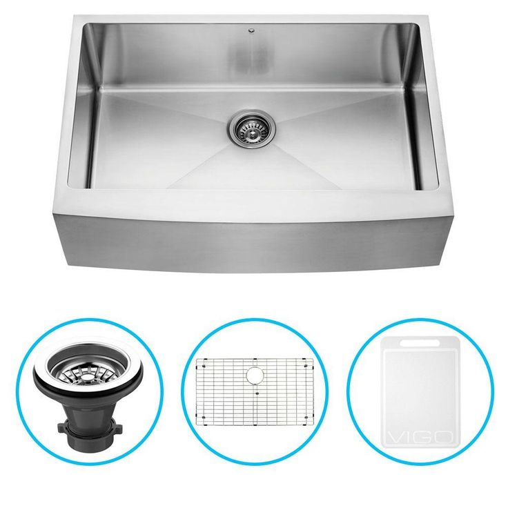 Vigo Undermount Farmhouse Stainless Steel 33 in. Single Bowl Kitchen Sink with Grid and Strainer-VGR3320CK1 - The Home Depot