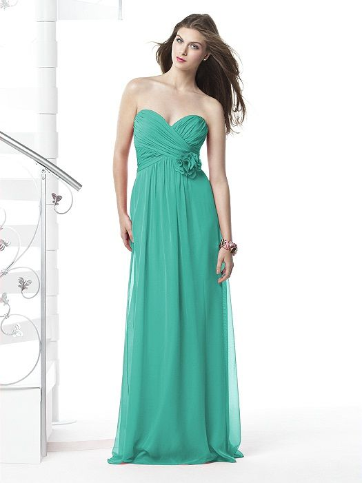 Strapless full-length lux chiffon dress with shirred bodice and matching flower detail at bodice. Sizes available 00-30W, and 00-30W extra length. Coordinating junior bridesmaid dress avaialble in sizes 6jb-14jb as style JR508.  http://www.dessy.com/dresses/bridesmaid/2832/