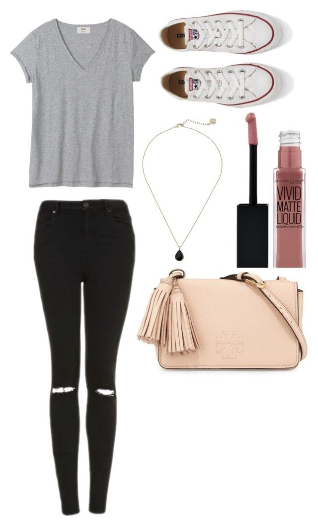 """very casual"" by griffinkite on Polyvore featuring Topshop, Kendra Scott, Maybelline, Tory Burch and Converse"