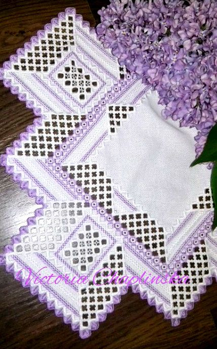 Hardanger embroidery doily handmade purple white by VicLinArt