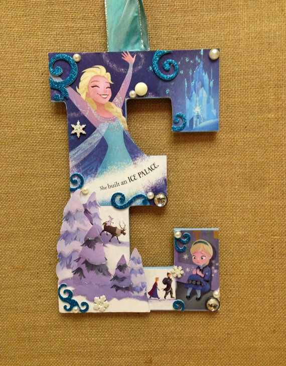 Disney Frozen Wooden Letter  done in Elsa E  11 by SpikaInteriors
