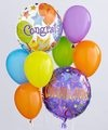 Congratulations Balloon Bunch. When you want your gift to make a big impression, give them this fun Balloon Bouquet. The bouquet arrives with 2 mylar balloons surrounded by 6 latex balloons and tied together with a ribbon. The congratulations mylar balloon designs may vary according to availability Balloon bouquets for other occasions: Graduation, Get Well, Birthday, Thinking of You. Price: $37.90