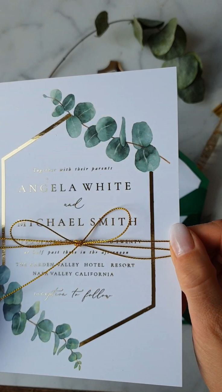 Greenery Gold WEdding Invitations with Eucaliptus Branch – #Branch #Eucaliptus #…