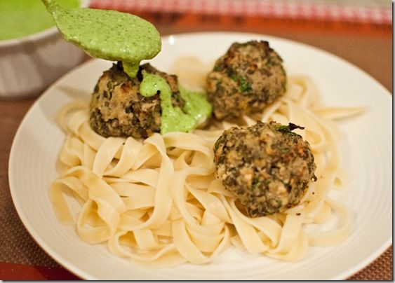 "Lentil ""Meatballs"" with Lemon Basil Pesto"