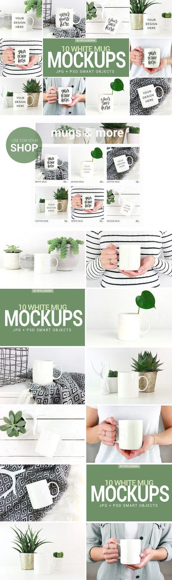 White coffee mug mockup photos with green lifestyle home by Skyla Design on @creativemarket