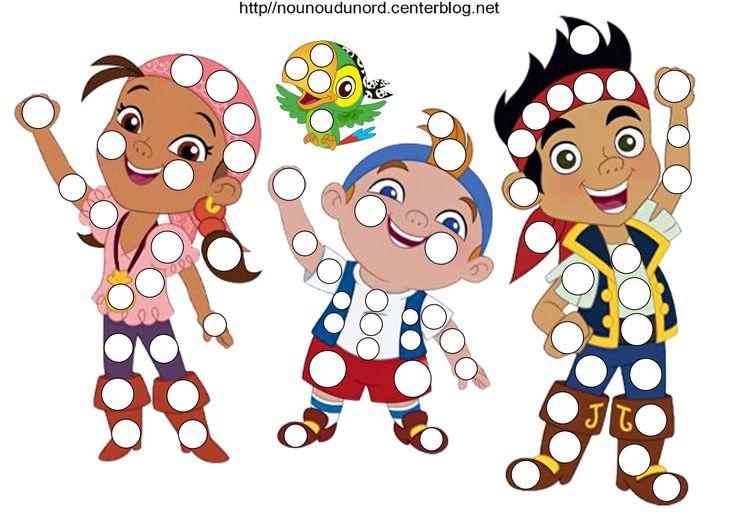 Jack et les pirates en coloriage, pour les gommettes, et des petites gommettes, http://nounoudunord.centerblog.net/4320-jack-et-les-pirates-coloriage-gommettes