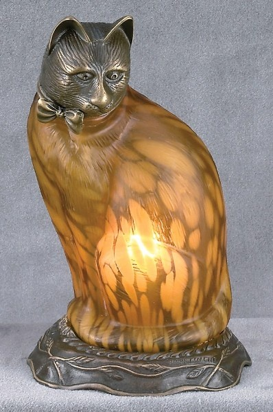 Cat Lamp w/ Amber Glass & Cast Metal Body <3