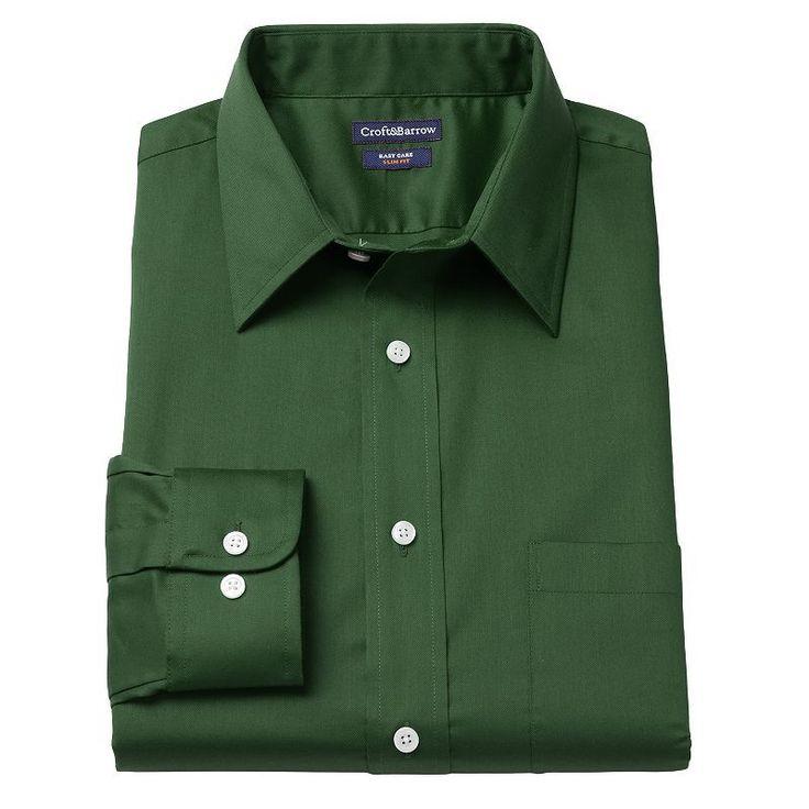 Men's Croft & Barrow® Slim-Fit Easy-Care Point-Collar Dress Shirt, Size: 16-32/33, Dark Green