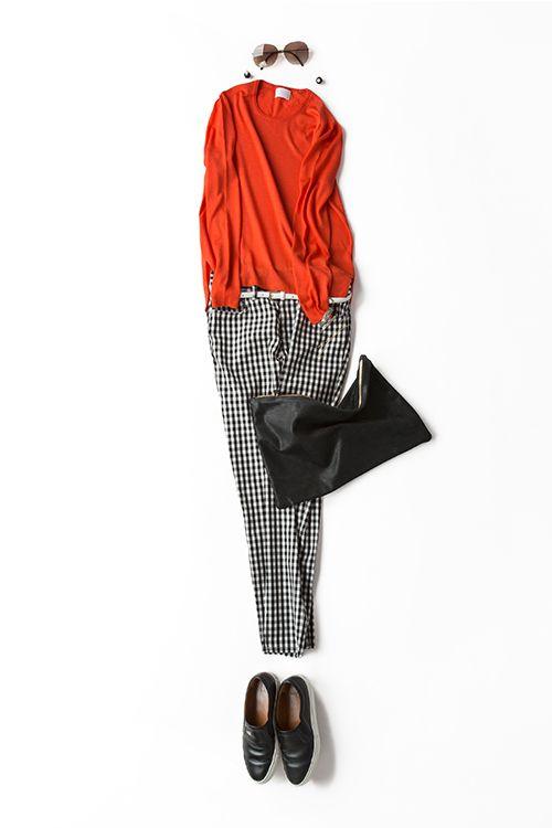 黒白ギンガムチェックをキュートにリラックスして着たい 2015-05-08 | sweater price :34,560 brand : STRASBURGO | trousers price :12,960 brand : MACPHEE/TOMORROWLAND