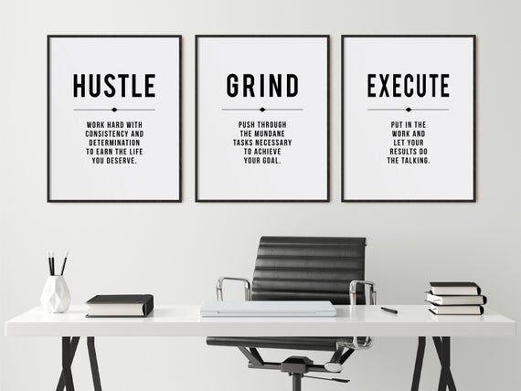Minimalist Office Decor Wall Art Hustle Grind Inspirational Etsy Office Decor Minimalist Office Wall Art Quotes