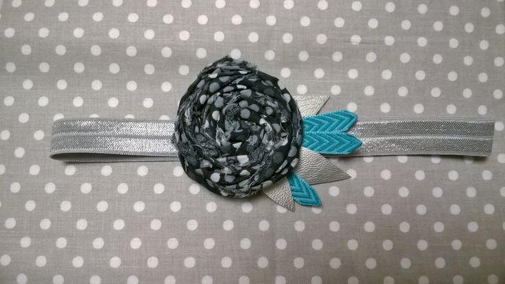 Baby/Toddler Hairband Grey & Turquise