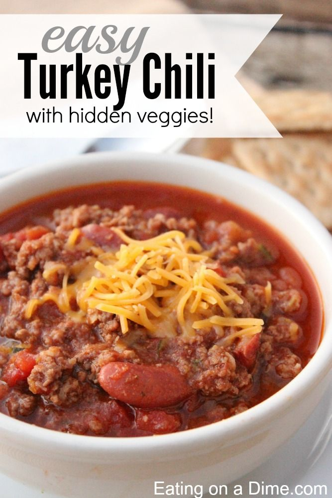 Easy Turkey Chili recipe (with hidden veggies).Turkey is so easy to make and it really can fool your family into eating healthier and for much cheaper too. If you are still afraid to go all ground turkey then double this recipe and cook with 1 pound ground turkey and one pound lean ground beef.  You will love it!