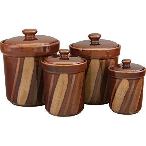 Stoneware Canister Set Sugar Tea Coffee Kitchen 4 Piece Food Containers Storage  #Unbranded