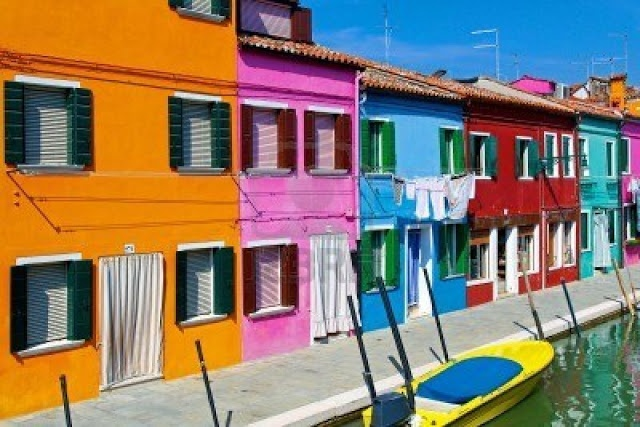 Colorful Houses in Burano island street cana