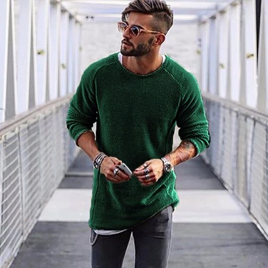 Men Sweater Autumn Winter Knitted Solid Simply Style Pullover Casual Loose O Neck Sweater Jumper Male Black Outerwear brand 2018