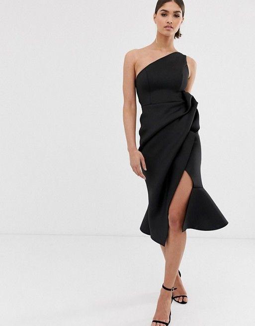 fb97e95bd7 DESIGN one shoulder tuck detail midi dress in 2019 | Winter Fall ...