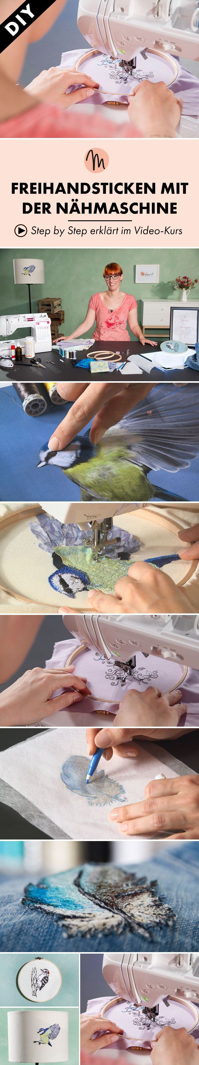 Male mit der Nähmaschine wunderschöne Motive auf Stoff - Step by Step erklärt im Video-Kurs via Makerist.de