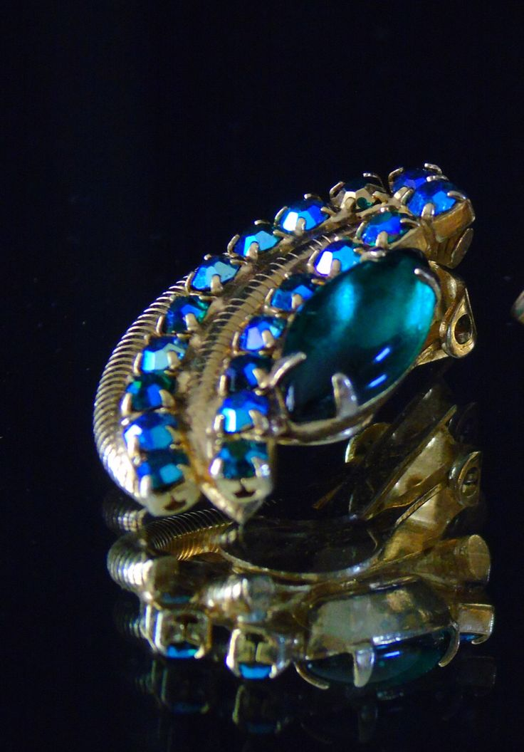 Frank Rifas Juliana Jewelry Navette Cabochon Earrings Vintage Signed Dated 1964 Clip on Earrings by 777VintageStreet on Etsy https://www.etsy.com/listing/193747531/frank-rifas-juliana-jewelry-navette