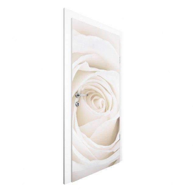 #Rosen #Vliestapete Tür - Pretty White Rose - Blumen #Türtapete #Türtapeten #selbstklebend #Türtapete #Türposter #Türbild #Türfolie # neueTürenÖffen