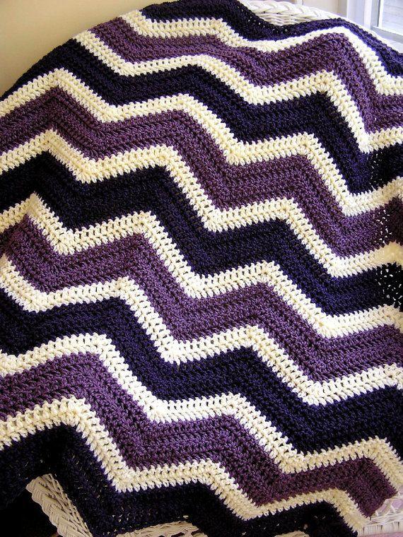 chevron zig zag baby blanket crochet baby afghan lap robe wheelchair ripple stripes LION brand VANNA WHITE choice yarn purple cream