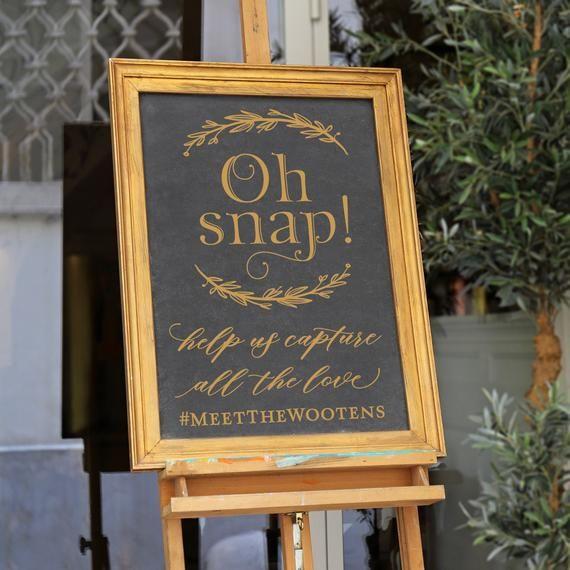 Wedding Sign Decal Diy Wedding Signs Oh Snap Hashtag
