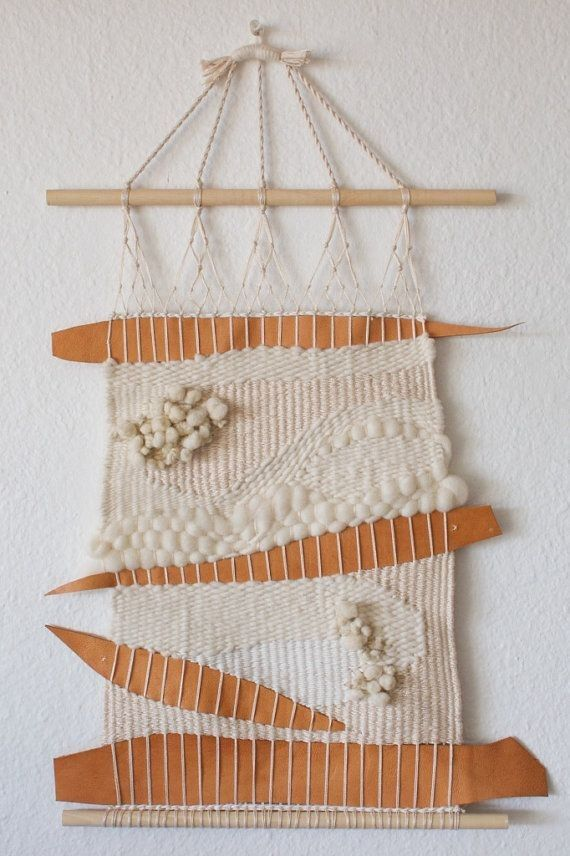 White cotton texture with wool and leather wall hanging woven art - wall hanging yarn