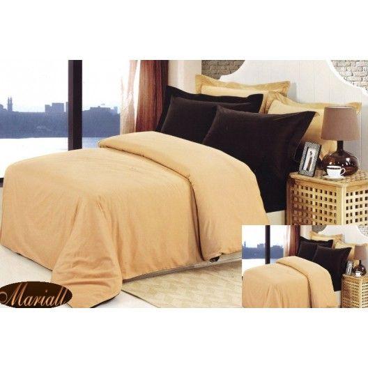 Obliečky na manželskú posteľ béžovej farby bavlnený satén