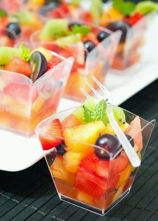 Individual Fruit Cups, garnish with a sprig of mint